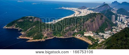 View of copacabana beach from SugarLoaf Rio Brazil