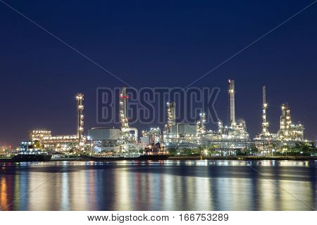 Onshore crude oil refinery that distillation crude oil to petrochemical products such as benzene LPG diesel NGV jet fuel liquid sulpher Tar. Sun Set.
