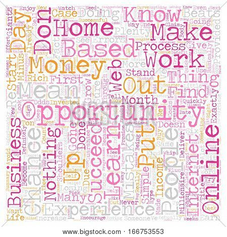 How To Succeed In Your Online Home Based Business Opportunity text background wordcloud concept
