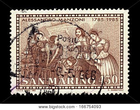 San Marino - CIRCA 1985: a stamp printed in Rome shows illustration to the novel