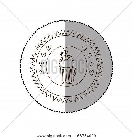 monochrome circular frame with middle shadow sticker with foamy beer glass and cherrys vector illustration