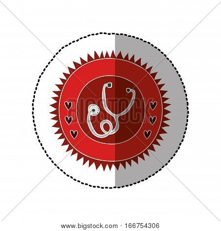 color circular frame with middle shadow sticker with stethoscope vector illustration