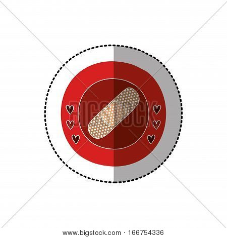 color circular frame with middle shadow sticker with band aid vector illustration