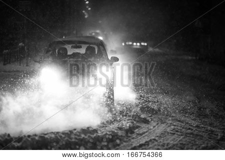 Blizzard In Traffic Bw