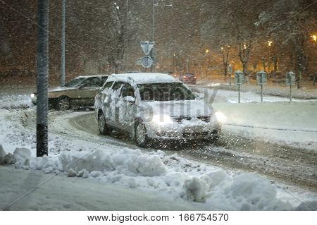 Cars In Snowy Traffic
