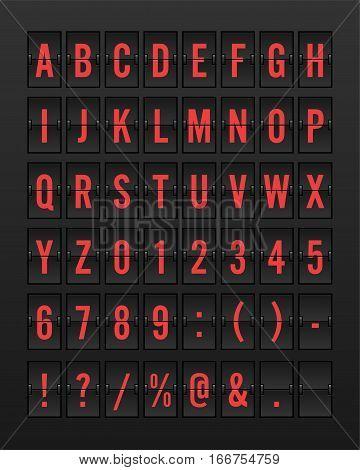 Airport Mechanical Flip Board Panel Font - Red Font on Dark Background Vector Illustration