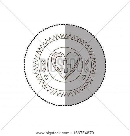 monochrome circular frame with middle shadow sticker of heart with sign cross vector illustration