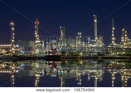 Down stream of onshore oil and gas productOil and gas refinery in ThailandChaophraya river.