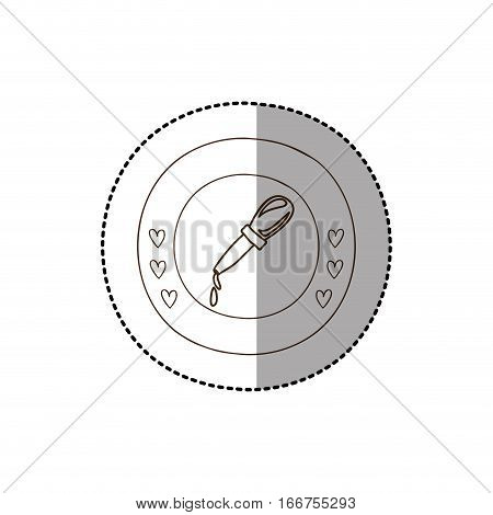 monochrome circular frame with middle shadow sticker with dropper vector illustration