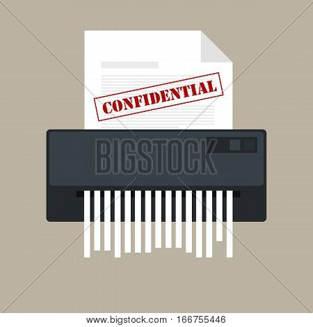 paper shredder confidential icon and private document office information protection vector