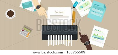 contract failure agreement cancelation broken paper shredder company business no deal vector