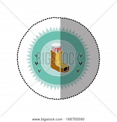 color circular frame with middle shadow sticker with asthma inhaler vector illustration