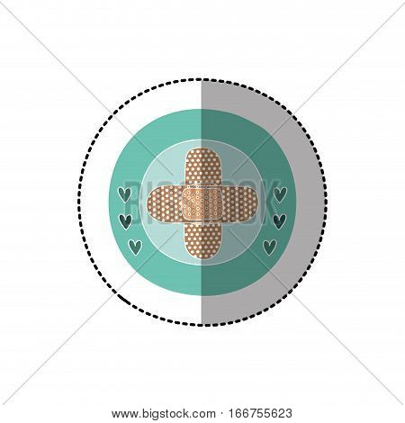 color circular frame with middle shadow sticker with crossed band aid vector illustration