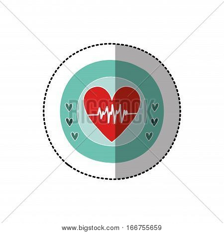 color circular frame with middle shadow sticker with heart with signs of life vector illustration