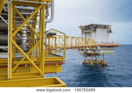 Oil and Gas processing platform produce natural gas and condensate or crude oil and sent to onshore petrochemical plant.