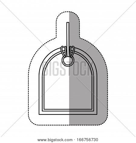 monochrome price tag sticker with middle shadow with side oval shape vector illustration