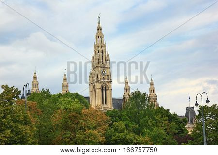 Towers of City Hall in Vienna, Austria