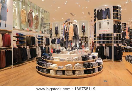 SHANGHAI CHINA - NOVEMBER 1, 2016: UNIQLO store on Nanjing road. UNIQLO is a Japanese casual wear designer, manufacture and retailer operating worldwide.