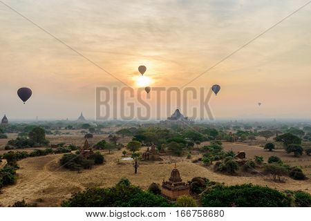 many hot air balloons above Bagan in old Bagan Mandaly Myanmar an ancient city with thousands of historic buddhist temples and pagoda