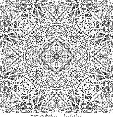 Coloring page ornamental pattern. Vector seamless background