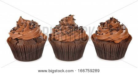 Chocolate cupcakes isolated on white background close up