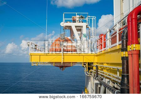 Life boat survival craft or rescue boat at oil and gas platform at muster station for emergency situation when in fire case or abandon case to escape from risk.