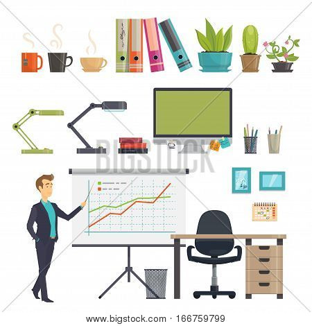Colorful business workplace icons set with businessman office supplies stationery and furniture isolated vector illustration