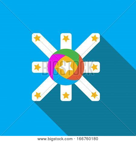 Vector icon or illustration showing marketing and advertising with star in flat design style with long shadow