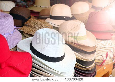 hat in the hat shop maket .