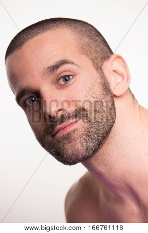 Young Man Face Head Smirking Closeup