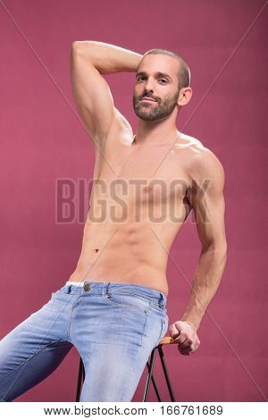 Young Man Handsome Shirtless, Pink Background, Muscular Body Abs Fit Shirtless