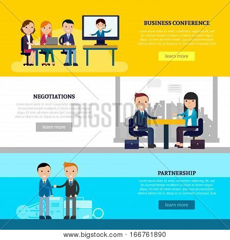 Business collaboration horizontal banners with people at meeting discussion and businessmen having successful deal vector illustration