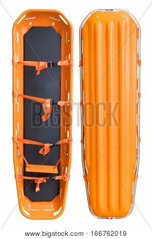 Stretcher for emergency paramedic service for carrying patient in emergency case Emergency medical equipment isolate on white with clipping path