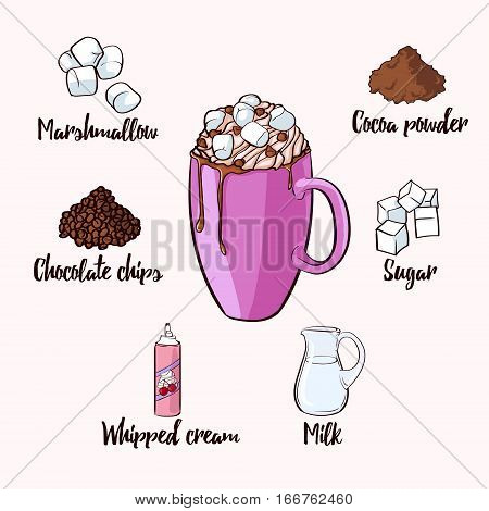 Colorful cocoa drink recipe with purple cup of ready beverage and ingredients for preparation isolated vector illustration