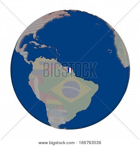 French Guiana On Political Globe