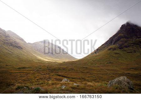 Dramatic landscape of Glen Coe during autumn, Scotland