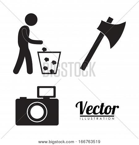 litter weapon cameras forbidden icon image vector illustration design