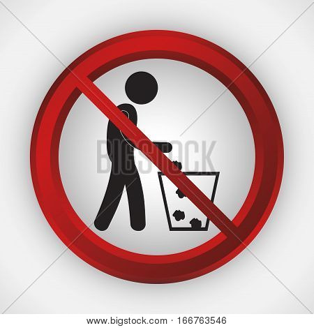 litter forbidden icon image vector illustration design