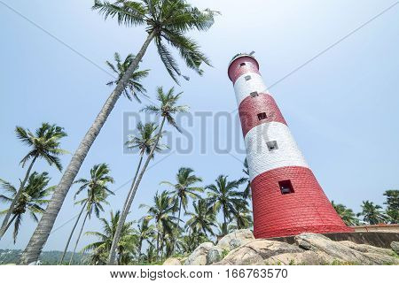 Red And White Lighthouse Surrounded By Palm Trees In India