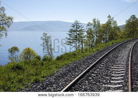 Railway near the lake Baikal in Russia