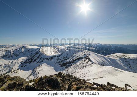 beautiful panorama of mountains in Siberia, Russia