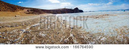 Ice And Sand Of Lake Baikal, Olkhon