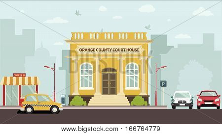 Big brown building with four white columns in simple cartoon style isolated illustration. Two floors. Round clock on top of establishment. Front view. Museum. School. College. Flat design.