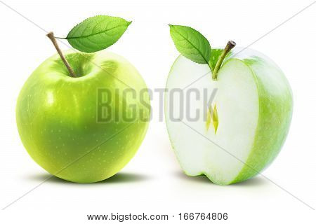 Green apple with leaf and half of green apple isolated on white background with clipping path. Two juicy ripe colored apples on a white background isolated with clipping path.