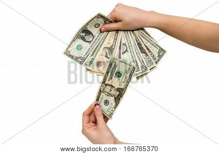 Female hand with dollars isolated close up