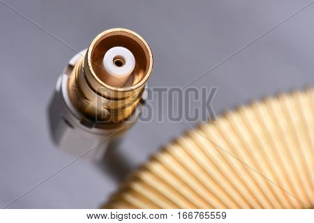 Close up coaxial cable in telecommunication systems