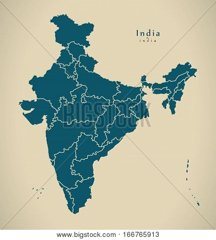 Modern Map - India With Federal States Illustration