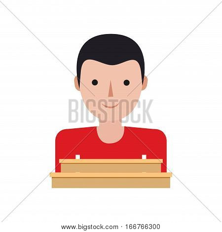boy delivery shop cardboard box vector illustration eps 10