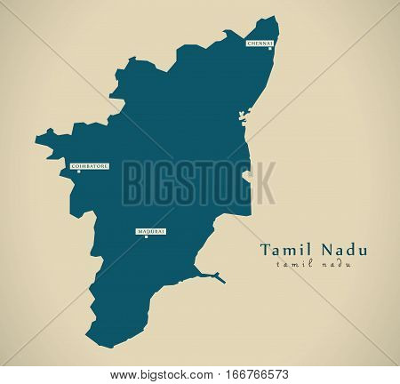 Modern Map - Tamil Nadu In India Federal State Illustration