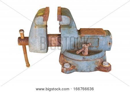 Old vise rotate able isolate on white background with clipping path.
